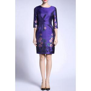 Sheath Ruched Floral Dress -