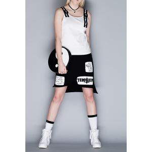 Straps Spliced Letter Print Tank Top -