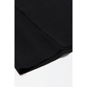 Knitting Hit Color T-Shirt and Sheath Black Skirt Suit -