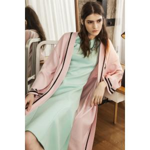 Collarless Belted Long Sleeve Cardigan -
