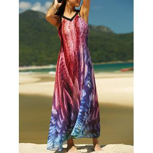 Maxi Backless Printed Summer Chiffon Casual Dress - Colormix - M