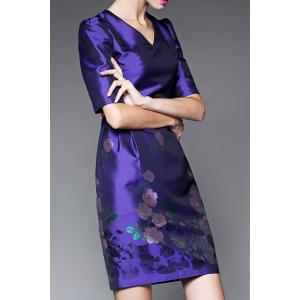 Half Sleeve Bodycon Floral Dress -