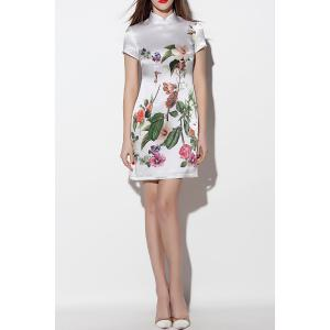 Floral Mini Silk Qipao -
