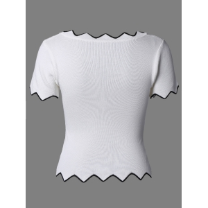 Stylish Zigzag Neck Short Sleeves Top For Women -