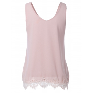 Slimming Lace Splice V-Neck Tank Top For Women -