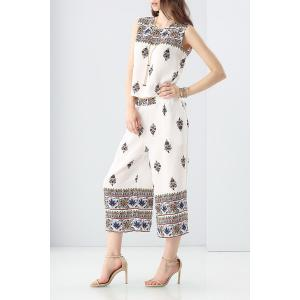 Ethnic Style Printed Tank Top and Wide Leg Pants Suit -
