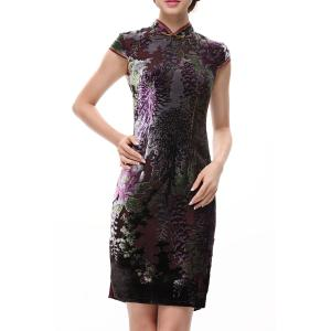 Slit Print Sheath Qipao -