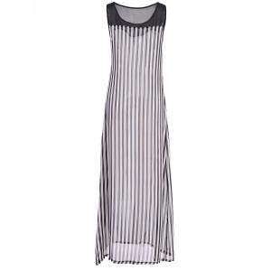 Stylish Scoop Neck Sleeveless Striped Voile Splicing Long Dress For Women - AS THE PICTURE S