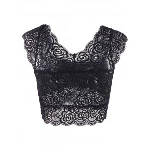 Fashionable Sweetheart Neck Solid Color Lace Tank Top For Women - BLACK ONE SIZE(FIT SIZE XS TO M)