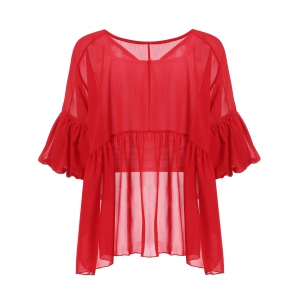 Stylish V-Neck Lantern Sleeve Flounced Women's Blouse + Tank Top -