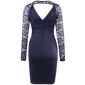 Elegant V-Neck Lace Sleeve Hollow Out Bodycon Dress For Women -