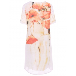 Trendy V-Neck 1/2 Sleeve Floral Print Dress For Women -
