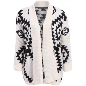 Stylish Loose-Fitting Roman Geometric Pattern Batwing Sleeve Knitting Women's Sweater - White And Black - One Size