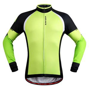 Stylish Windproof Long Sleeve Thermal Fleece Cycling Jacket For Unisex - Black And Green - M