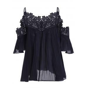 Loose-Fitting Ruffles Openwork Spaghetti Strap Blouse For Women -