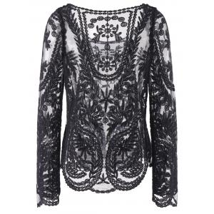 Semi Sexy Sheer Sleeve Embroidery Floral Lace Crochet Tee T-Shirt Top T shirt -