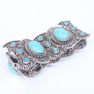 Faux Turquoise Carved Alloy Bracelet -
