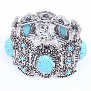 Faux Turquoise Carved Alloy Bracelet