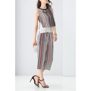 Layered Striped Tank Top and Wide Leg Pants Twinset -
