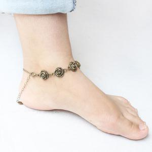 Vintage Rose Love Shape Flower Traditional Anklets -