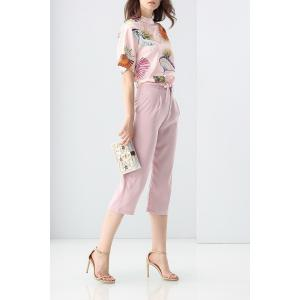 Loose Printed T-Shirt and Solid Color Pants Twinset -