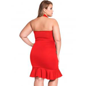 Plus Size Pure Color Lace-Up Mermaid Dress - RED 3XL
