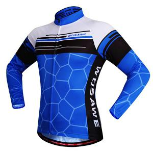 Simple Irregular Pattern Quick Dry Cycling Long Sleeve Jersey For Unisex - BLUE XL