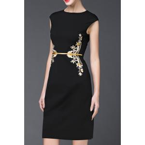 Cap Sleeve Embroidery Sheath Dress -