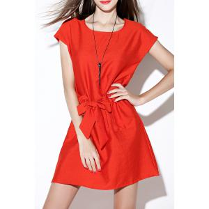 Solid Color Tie Front Dress -