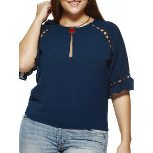 Cuff Ruffled Hollow Out Blouse