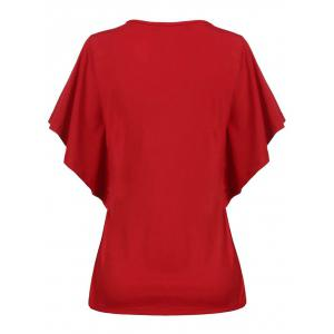 Candy Color Buttterfly Sleeve T-Shirt - RED 2XL