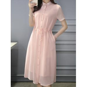 Stylish Women's Stand Collar Drawstring Chiffon Dress -