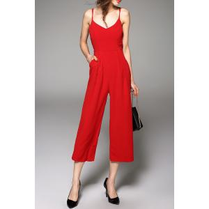 Spaghetti Straps Solid Color Jumpsuit - RED L