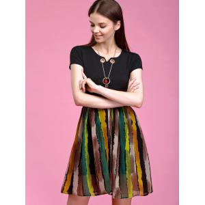Trendy Necklace Decorated Short Sleeve Stripe Spliced Dress For Women -