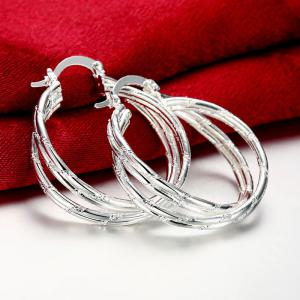 Pair of Gorgeous Layered Circle Hoop Earrings For Women -