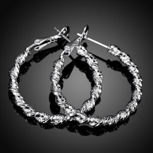 Pair of Gorgeous Twisted Round Hoop Earrings For Women -