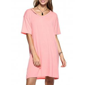 Cut Out Slit Pure Color Boyfriend Tee - Sweet Orange - Xl