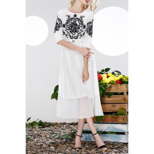 Belted Floral Embroidery Dress -