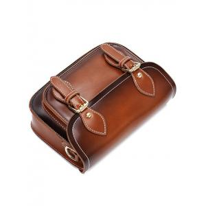 Vintage Double Buckles and Stitching Design Crossbody Bag For Women -