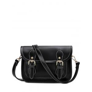 Vintage Double Buckles and Stitching Design Crossbody Bag For Women