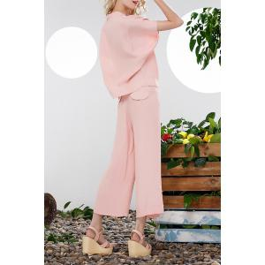 Loose Blouse and Solid Color Wide Leg Pants Suit -