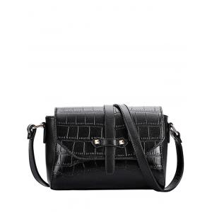 Trendy Crocodile Pattern and PU Leather Design Crossbody Bag For Women - Black - 40