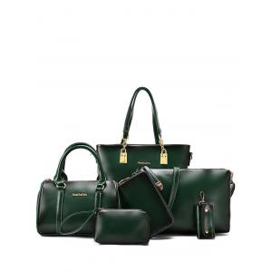 Retro Metal and PU Leather Design Shoulder Bag For Women - Green