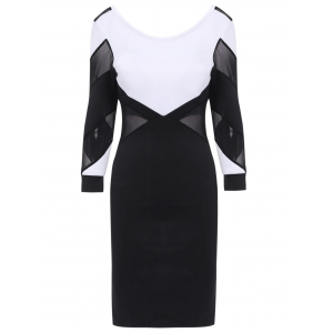 Mesh Splicing Backless Bandage Dress with Sleeves