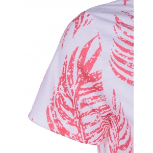 Elegant Round Neck Short Sleeves Plant Printing T-shirt - RED WITH WHITE L