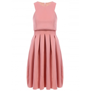Stylish Round Collar Sleeveless Pleated Dress For Women