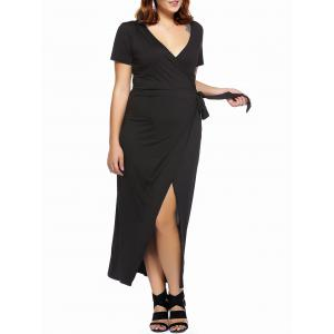 Plus Size High Slit Wrap Cocktail Dress - Black - 4xl