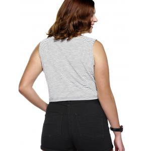 Plus Size Lace Up Striped Tank Top -