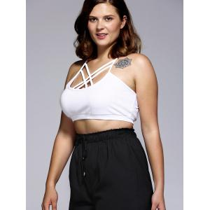 Plus Size Criss Cross Sleeveless Crop Top - WHITE 5XL