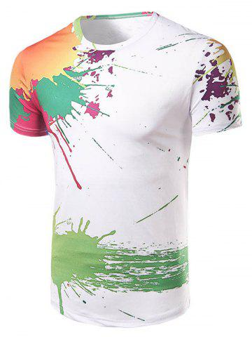 Latest Casual Short Sleeve Painting T-Shirt For Men WHITE L